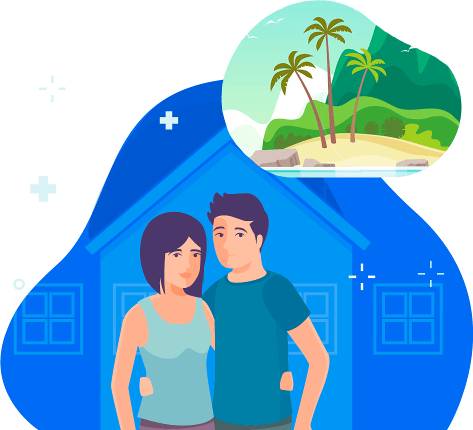 Couple dreaming of a Vacation