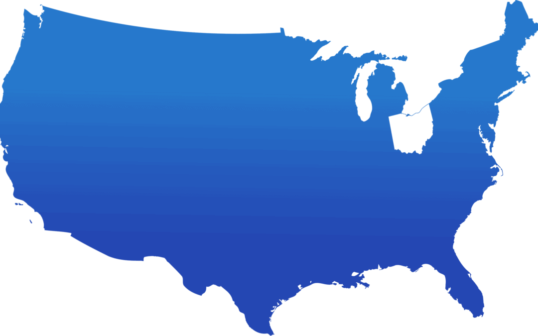 Blue map of the Untied States