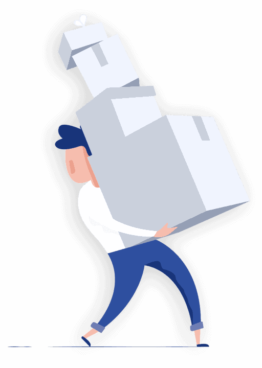 Man carrying a stack of moving boxes